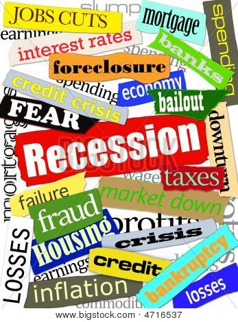 Recession Headline Montage