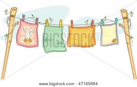 Illustration of Baby Blankets Hanging on a Clothesline