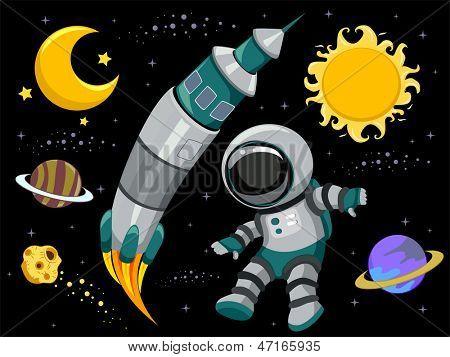 Illustration of Outer Space Design Elements on Black Background