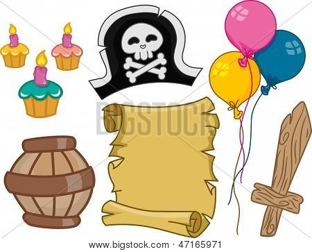 Ilustração dos elementos de Design de aniversário pirata