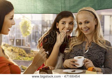 Felizes femininos amigos conversando, sussurrando no café, com bolo e café ao ar livre.