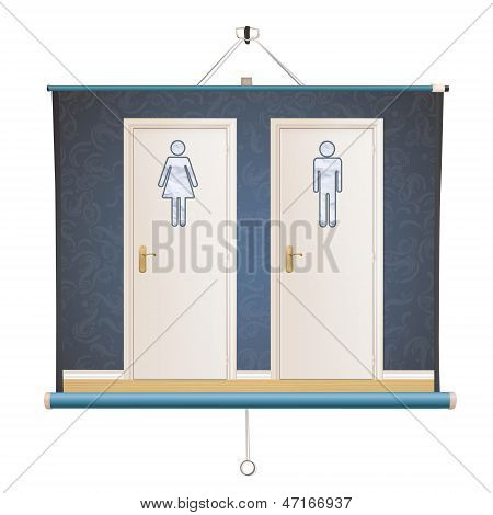 Toilet Doors On Vintage Wall Inside A Projector Screen. Vector Design