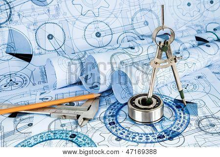 Desenhos técnicos com o rolamento em uma tonificação azul