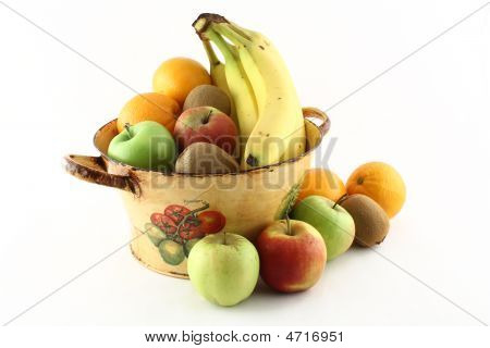 Fruits Around A Filled Basket