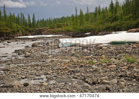 Snowfield Putorana Plateau, The River Valley.