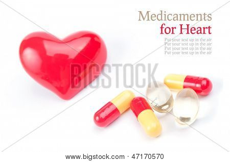 Various pills for heart, isolated on white