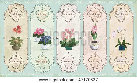 Set of vintage labels with potted flowers.