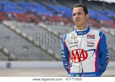 Fort Worth, TX - Jun 07, 2013:  Helio Castroneves (3) takes to the track for a practice session for the Firestone 550 race at the Texas Motor Speedway in Fort Worth, TX on June 07, 2013.