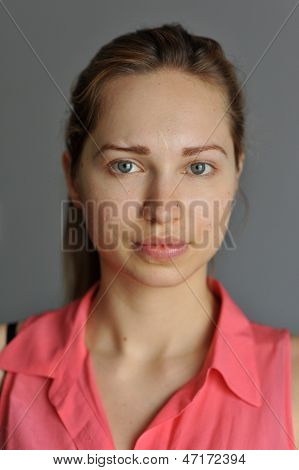 Portrait of young Slavic model with no make-up