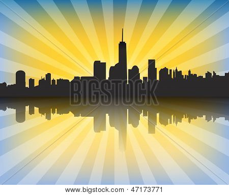 Modern Cityscape At Sunset With Sunrays And Reflection