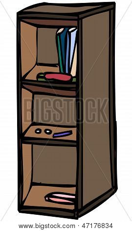 Isolated Vector Sketch of Bookshelf Cabinet