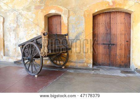 Old wooden cart in Old San Juan Puerto Rico - Castillo San Cristobal