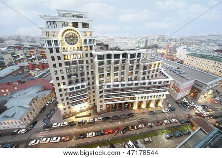 MOSCOW - NOV 21: The luxury residential complex Copernicus, on Nov 21, 2012 in Moscow, Russia. It is home of new generation. Its distinguishing feature is visual architectural design of top floors