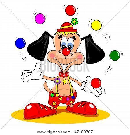 A cartoon dog as clown