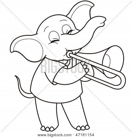Stock Vector Dibujos Animados Elefante Jugando Un Trombón on Stock Vector Elefante