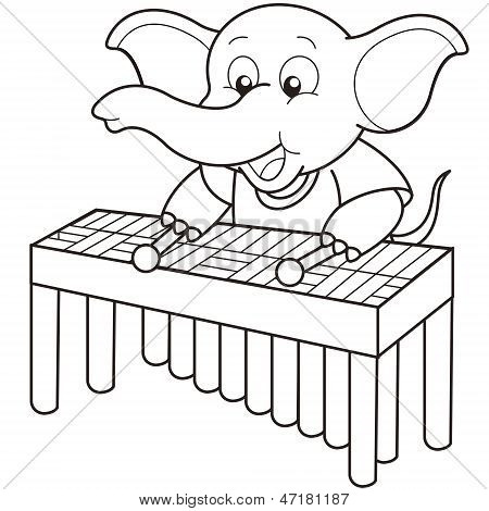 Cartoon Elephant Playing A Vibraphone