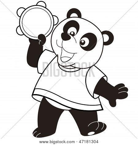 Cartoon Panda Playing A Tambourine