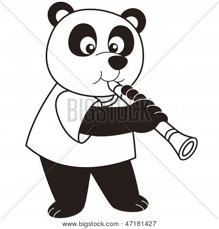 Cartoon Panda Playing A Clarinet