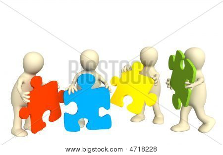Four Puppets, Holding In Hands A Puzzle