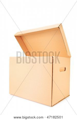 Open cardboard box isolated against white background