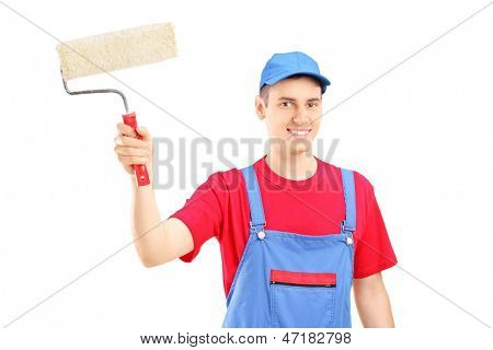 Smiling painter in a uniform holding a roller isolated against white background