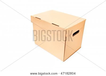 Studio shot of a closed cardboard box isolated against white background
