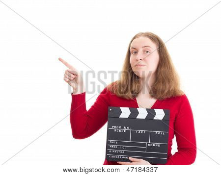 Woman With Clapperboard Pointing At Something