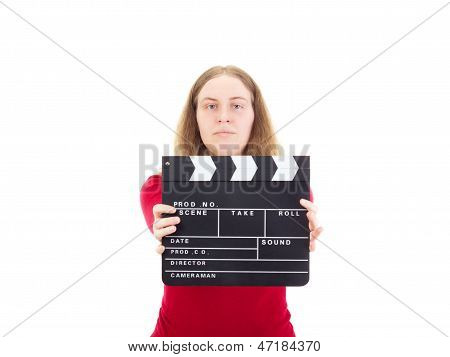 Young woman with clapperboard on white background