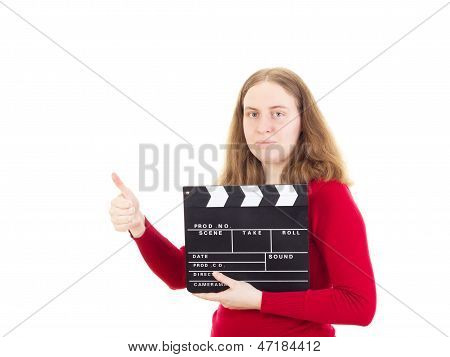 Female Person With Clapperboard Showing Thumb Up