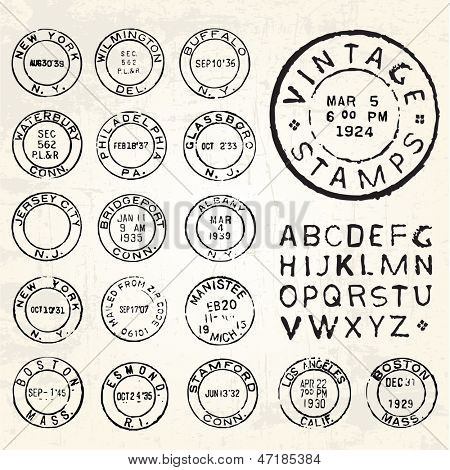 Vector Vintage Stamp Set. All pieces are separated and easy to edit.