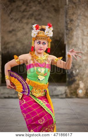 Balinese Girls Perform Legong And Barong Dance