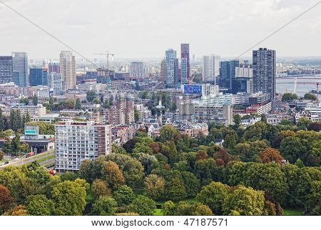 Arial panorama of Rotterdam Holland.