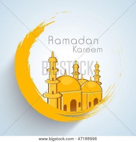 Golden mosque on golden moon concept for Muslim community holy month of  Ramadan Kareem.