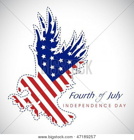 4th of July, American Independence Day background with national bird eagle in national flag colors.