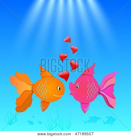 Love concept with fish couple.