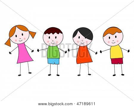 Happy Friendship day background or greeting card with cute little kids.