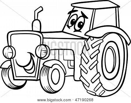 Мультик раскраска про тракторов