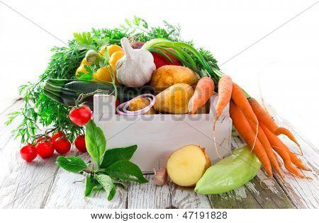 Fresh vegetable on wooden table