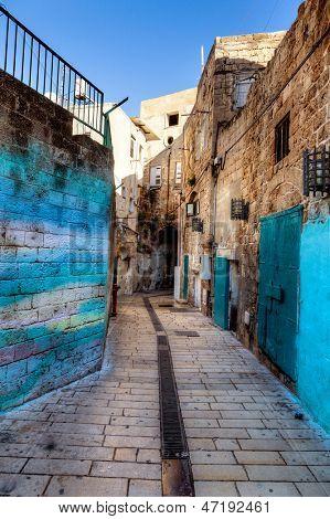 Cobblestone street in Akko, Israel