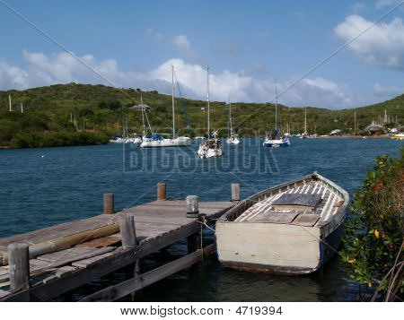 Boat Dock In English Harbour In Antigua Barbuda