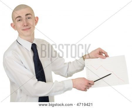 Smiling  Guy With The Financial Graph In Hands