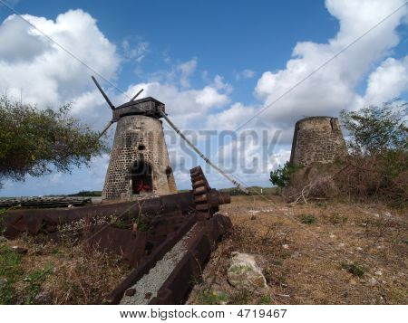 Old Windmill At Bettys Hope Plantation On Antigua Barbuda