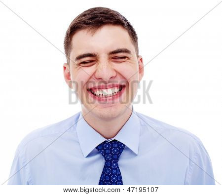 Closeup portrait of loudly laughing business man. Isolated on white background, mask included