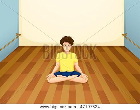 Abbildung eines Mannes mit einem gelben Hemd, die Yoga in einem Raum durchführen