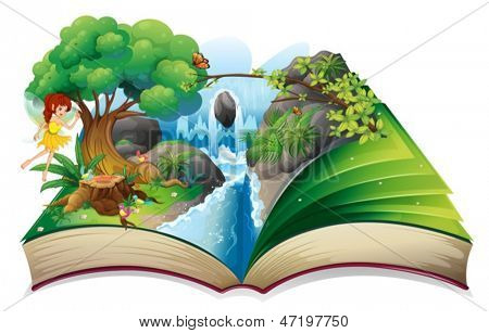 Illustration of an enchanted book on a white background