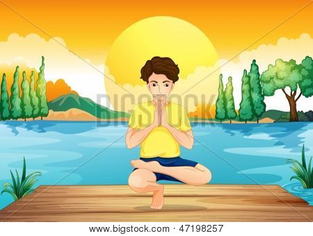 Illustration of a young man exercising at the wooden bridge