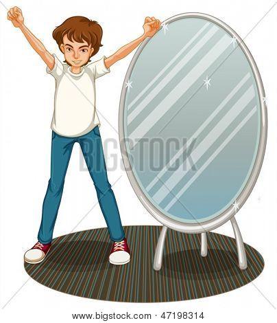 Abbildung eines Knaben neben einem Spiegel auf weißem Hintergrund