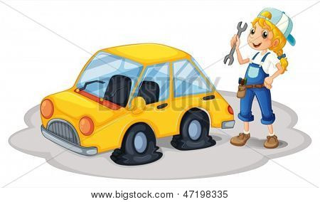 Illustration of a girl repairing a yellow car with flat tires on a white background