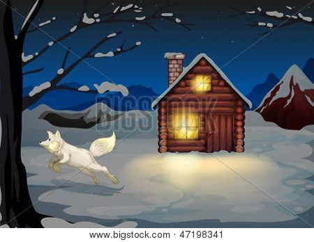 Illustration of a fox jumping outside the wooden house with snow