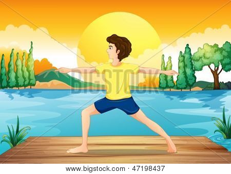 Illustration of a man relaxing at the river